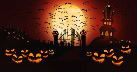 Halloween Pumpkins at Cemetery with Bats Flying Against Full Moon Sky with Haunted Mansion in the Background Stock Photo - 131784183