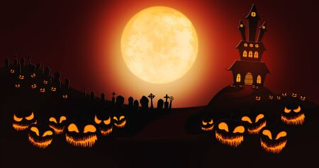 Halloween Pumpkins at Cemetery Against Full Moon Sky with Haunted Mansion in the Background Stock Photo