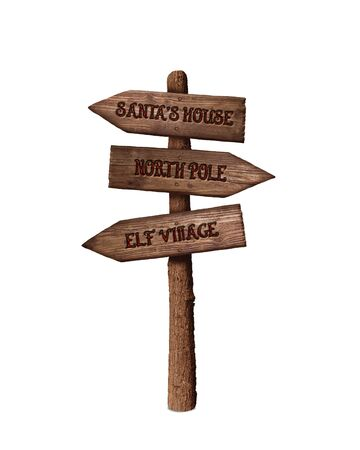 Arrow Sign Showing the Way to Santa's House and North Pole Isolated On White Background