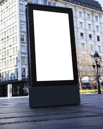 Blank Billboard in the city street. White empty display for copy space images and text