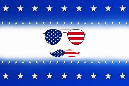 Independence Day, 4th of July background with sunglasses, blue color stripes and white stars