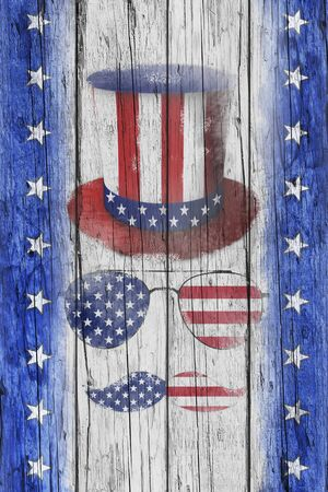 Happy Independence Day. Uncle Sam's Hat, Mustaches and sunglasses on rustic wooden surface