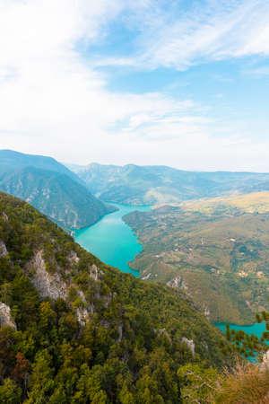 Tara National Park, Serbia. Viewpoint Banjska Stena. View at Drina river canyon and lake Perucac 写真素材