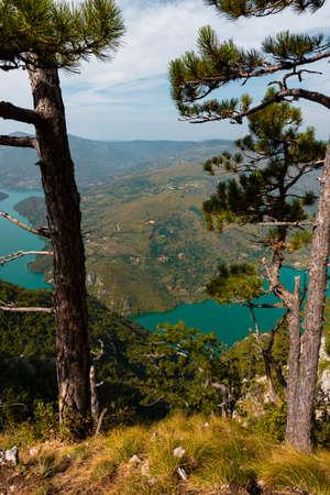 Tara National Park, Serbia. Viewpoint Banjska Stena. View at Drina river canyon and lake Perucac with Focus on the lake and canyon