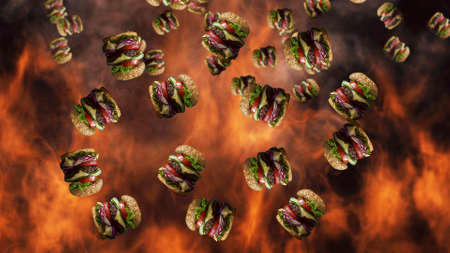 Hamburgers falling with smoke and burning fire in background. Fast food menu promo