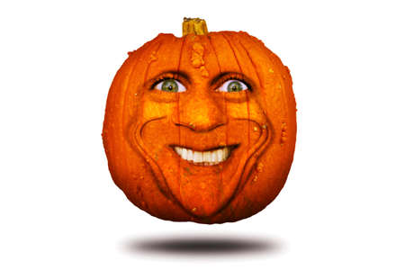 Halloween pumpkin with smiling face isolated on white background Zdjęcie Seryjne