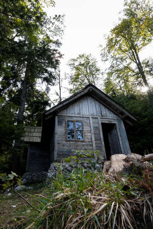 Wooden cabin in the woods at Tara mountain in Serbia