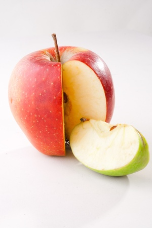 Combination of green apple with green apple slice representing market share on white background photo