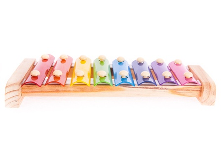 Colorful child wooden xylophone isolated on white
