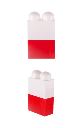 Flag of Poland made of toy building blocks, isolated on white photo