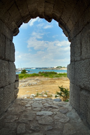 Ruins of ancient Greek colony Khersones, Sevastopol, Crimea, Ukraine photo