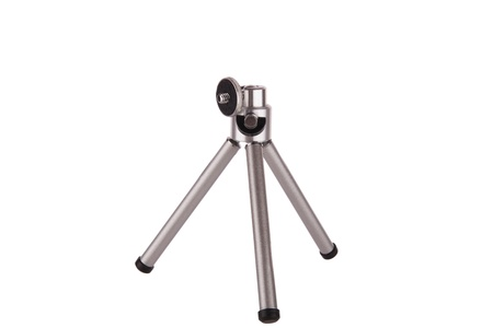 Miniature metal tripod isolated on white Stock Photo - 18616401