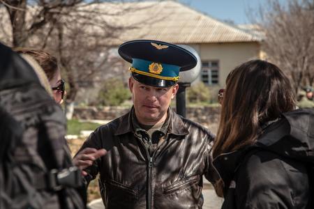 paramilitary: BELBEK, UKRAINE - March 21, 2014 Yuliy Valeryevich Mamchur, Commander of Belbek military base A4515