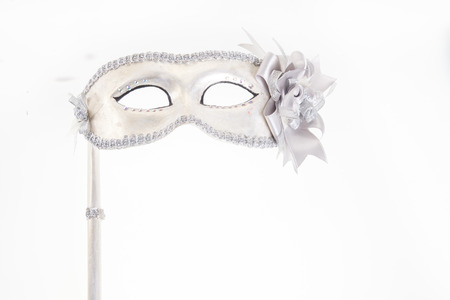 Carnival mask isolated on white with place for your copy text