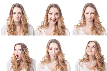 Collage of woman different facial expressions, emotions and emoticons Foto de archivo