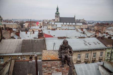 lviv: LVIV, UKRAINE - February 23, 2015 Lviv roofs from high point Editorial