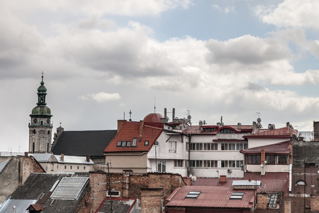 lemberg: High church tower among old roofs Lviv Ukraine