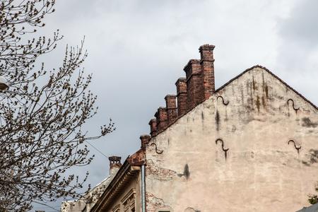 lemberg: Pretty roof landscape Lviv rooftop against sky
