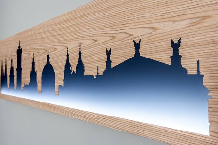 Cityline of Lviv old city with famous landmarks carved in wood