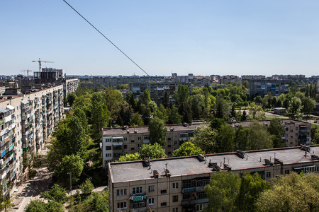generic cityscape view in residential area from high point Foto de archivo