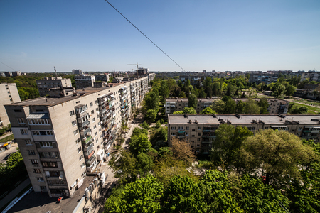 generic cityscape view in residential area from high point Standard-Bild