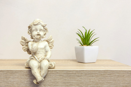 Angel figure on book shelf next to succulent with copyspace Standard-Bild