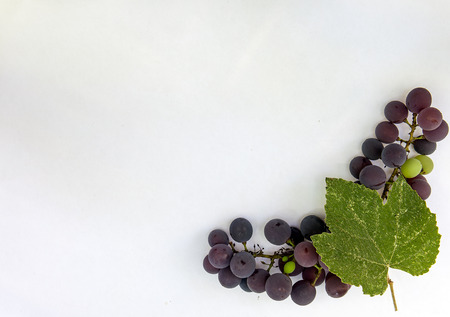 Fresh ripe sweet grape isolated white background. Copy space. Top view, high resolution Foto de archivo