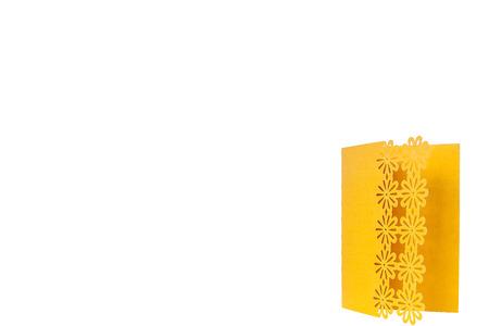 Handcrafted holidat gift card cut out of multicolor designer paper Standard-Bild - 109252402