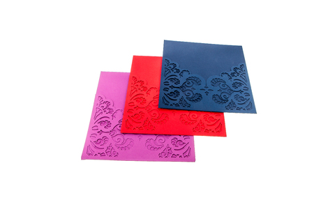 Handcrafted holidat gift card cut out of multicolor designer paper