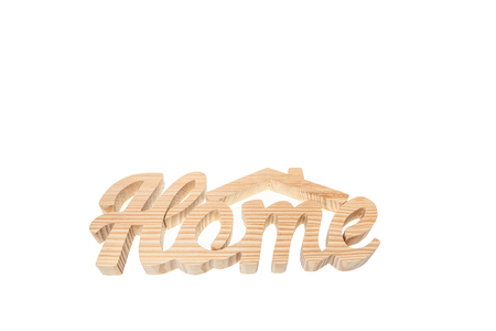 Home sweet home, wooden text isolated on white background with copy space