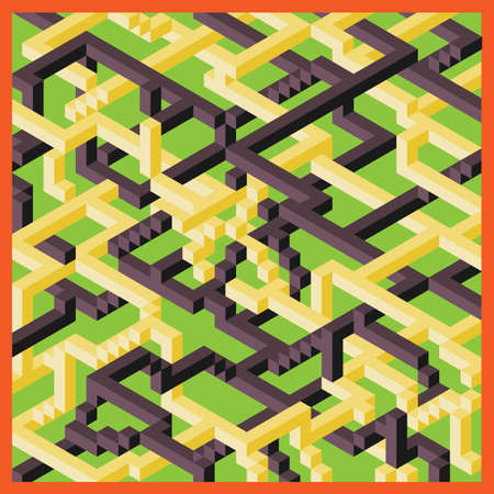 Vector three D image, a fun maze, staircase and incredible intersections and transitions