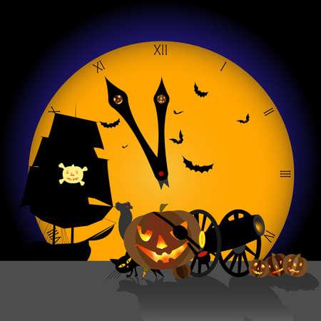 Image vectorielle. Halloween, citrouille pirate boiteuse, bientôt minuit. La pleine lune est arrivée