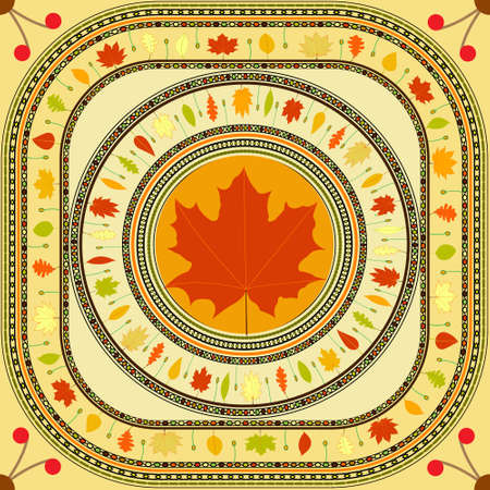 Autumn colors seamless pattern, colorful carpet of fallen leaves and grass
