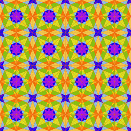 Seamless Pattern in Arabic Style, Purple, Yellow, Green Tones. Background for Textile and Other Design Solutions 스톡 콘텐츠 - 135487598