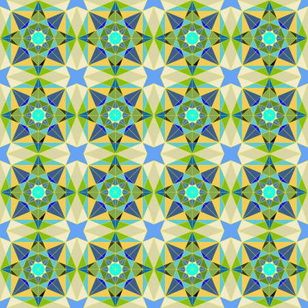 Seamless Pattern in Arabic Style, Blue, Beige and Green Tones. Background for Textile and Other Design Solutions