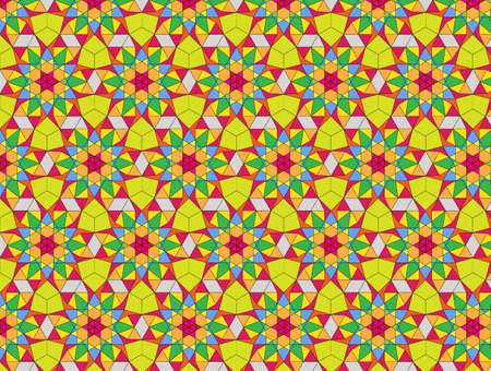 Seamless Bright Floral Pattern in a Rectilinear Style Based On a Hexagon. Background for Textile and Other Design Solutions