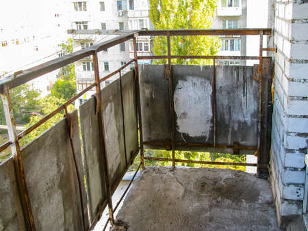 The Old Balcony In A Multi-Storey Building Is Cleaned And Prepared For Reconstruction Stock fotó