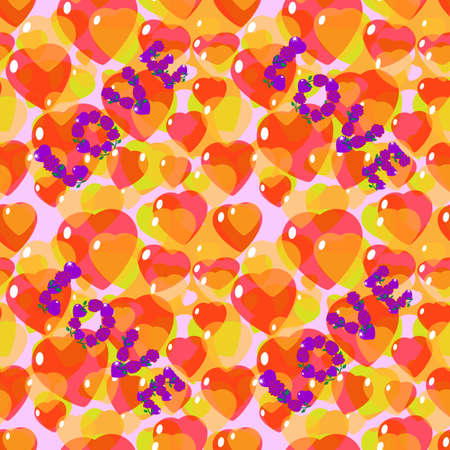 St. Valentine, Vector, Seamless Pattern and The Inscription Love from Stylized Hearts and Flowers in Yellow-Orange Colors. Background for Textiles and Other Design Decisions