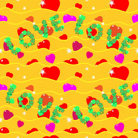 St. Valentine, Vector, Seamless Pattern and The Inscription Love from Stylized Hearts and Waves, In A Romantic Style, In Yellow Colors. Background for Textiles and Other Design Decisions