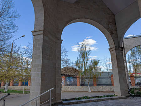 Arched Entrance, Openings, Arch and A Distinctive Design Form the Original Design in The Interior of a Brick Building