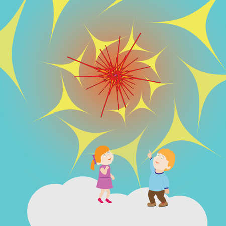 Children Standing On a Cloud Are Surprised to See an Unusual Object Approaching. Vector Stylized Image. Background for Textile and Other Design Solutions Illustration