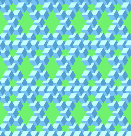 Vector, Seamless Stylized Pentrose Triangle Based Pattern. The Combination of Blue and Green Background. Physically Impossible Option and Optical Illusion. Possible Use in Design Solutions