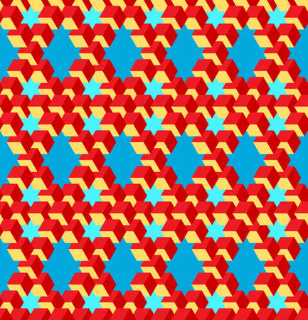 Bright Vector, Seamless, Stylized Pattern Based On the Pentrose Triangle. A Combination of Yellow, Red and Blue. Physically Impossible Option and Optical Illusion. Possible Use in Design Solutions Ilustração