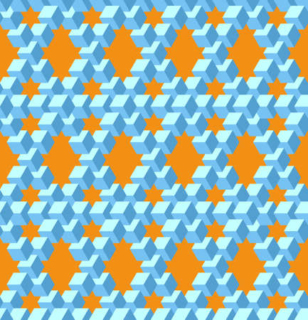 Vector, Seamless, Stylized Pattern Based On the Pentrose Triangle. Combination of Orange and Blue Colors. Physically Impossible Option and Optical Illusion. Can Be Used in Design Solutions Ilustração