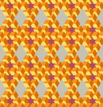 Vector, Seamless, Stylized Pattern Based On the Pentrose Triangle. A Combination of Orange, Beige and Red. Physically Impossible Option and Optical Illusion. Can Be Used in Design Solutions