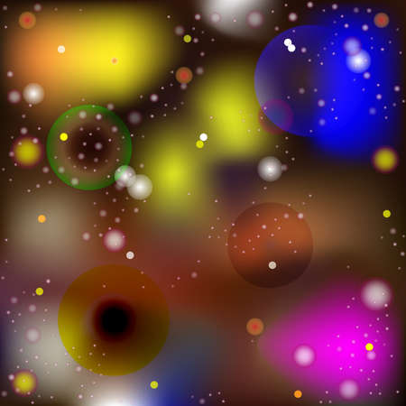 Vector Abstract Image in The Style of Macro and Microworld. Luminous Spheres and Balls Moving in Space