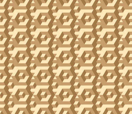 Vector, Seamless Three-D Image in Muted Brown Tones. Labyrinth, Funny Intersections and Transitions 矢量图像