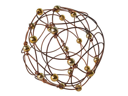 A Puzzle Hand-Made from Wire and Balls. It Is a Stylized Openwork Sphere. Isolated On White Background