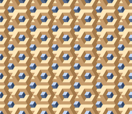 Vector, Seamless Three D Image in Beige Colors. In The Center Is a Gray-Blue Square Labyrinth, Funny Intersections and Transitions