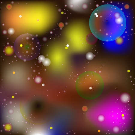 Vector Abstract Image in The Style of a Mysterious Macro and Microworld. Glowing Spheres and Balls Moving in Space, Blurred Background Ilustración de vector